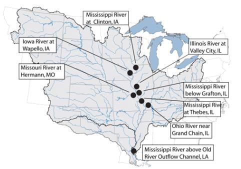 The illustrating graphic depicts the Mississippi River drainage in the central U.S. and indicates the geographic location of the eight permanent nitrate monitoring stations: Mississippi River at Clinton, IA Iowa River at Wapello, IA Illinois River at Valley City, IL Mississippi River below Grafton, IL Missouri River at Hermann, MO Mississippi River at Thebes, IL Ohio River near Grand Chain, IL Mississippi River above Old River Outflow Channel, LA