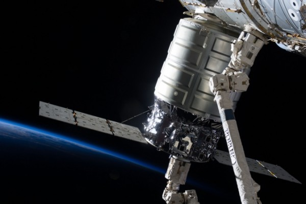The first Cygnus commercial cargo spacecraft built by Orbital Sciences Corp., seen here attached to the International Space Station's Harmony node, will leave the orbital outpost this week. Image Credit: NASA