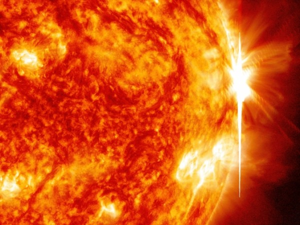 The sun emitted a significant solar flare – its fourth X-class flare since Oct. 23, 2013 -- peaking at 5:54 p.m. on Oct. 29, 2013. NASA's Solar Dynamics Observatory captured the flare in this image, which shows light in wavelengths of both 304 and193 Angstroms. Image Credit: NASA/SDO