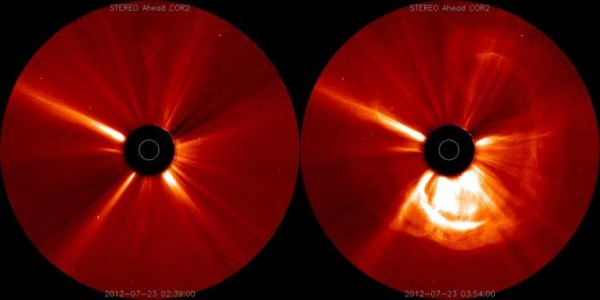 A recent solar eruption just missed Earth; these coronographs show the sun before and during the eruption. Credit: NASA Goddard Space Flight Center