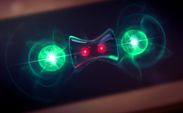 "Artist's conception of NIST experiment showing how quantum computing might benefit from lost information. Two beryllium ions (red), used as quantum bits or qubits to store information, were ""entangled"" so that their properties were linked—a useful feature for quantum computing. Two partner magnesium ions (green) released heat to the environment. Any unwanted information in the qubits was coupled to the outgoing heat, leaving the qubits in the desired entangled state (suggested by the hourglass). Credit: Bertram/Motion Forge for NIST"