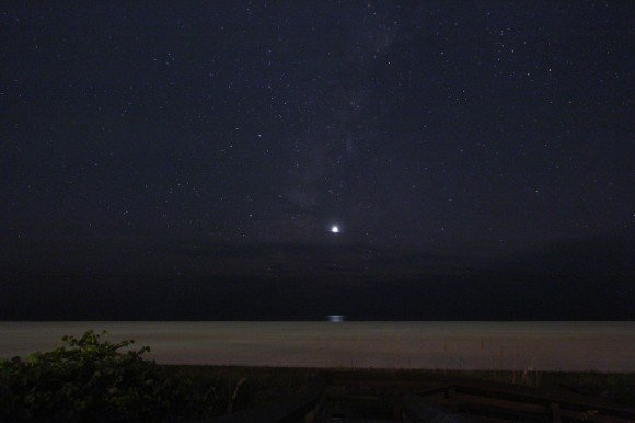 Venus plus its reflection and the Milky Way off of the Gulf of Mexico. (Credit: Brian McGaffney/Nutwood Observatory).