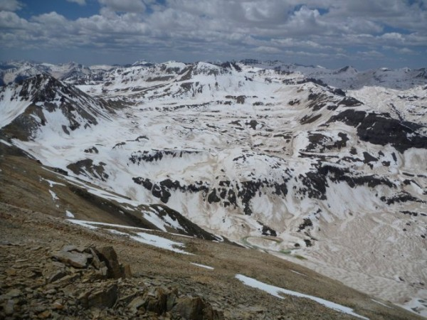 Dust on snowpack in Senator Beck Basin, San Juan Mountains, Colo., on May 16, 2013. (Photo by Jeffrey Deems).
