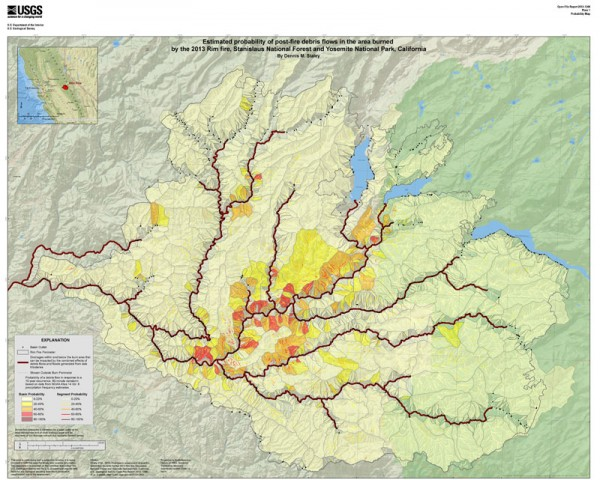 Likelihood of significant debris-flow hazard within and downstream of the Rim Fire burn area. Red areas are most likely to generate debris flows