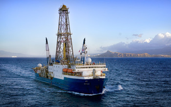Aerial view of the drillship JOIDES Resolution. Credit: Credit: William Crawford and IODP
