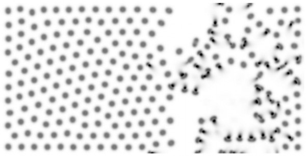 """Reactive spots (grey) move away from their """"tails"""" (black) – """"parasitic"""" reactants that regulate the """"population"""" and spatial distribution of spots (much as a conventional symbiotic relationship would)"""