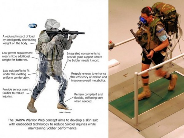 Artist's concept of an early version of a Warrior Web suit, likely to be a major part of an eventual TALOS suit (Image provided by DARPA)