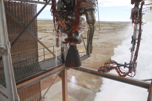 Blue Origin test fires a powerful new hydrogen- and oxygen-fueled American rocket engine at the company's West Texas facility in Van Horn. During the test, the BE-3 engine fired at full power for more than two minutes to simulate a launch, then paused for about four minutes, mimicking a coast through space before it re-ignited for a brief final burn. The last phase of the test covered the work the engine could perform in landing the booster back softly on Earth. Blue Origin, a partner of NASA's Commercial Crew Program, is developing its Orbital Launch Vehicle, which could eventually be used to launch the company's Space Vehicle into orbit to transport crew and cargo to low-Earth orbit. (Photo Credit: Blue Origin)