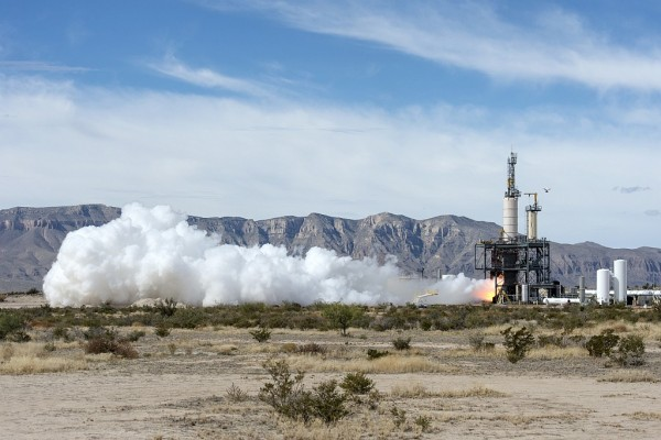 Blue Origin test fires a powerful new hydrogen- and oxygen-fueled American rocket engine at the company's West Texas facility. Image Credit: NASA/Lauren Harnett