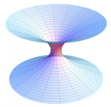 "A diagram of a wormhole, a hypothetical ""shortcut"" through the universe, where its two ends are each in separate points in spacetime. Photo: Wikipedia"