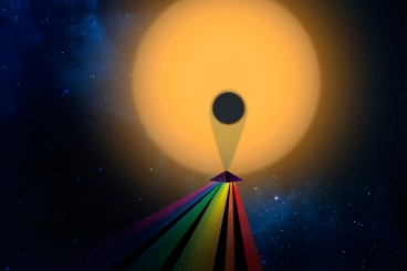 Artistic rendering of a planet's transmission spectrum. Christine Daniloff/MIT, Julien de Wit