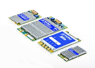ThingMagic's product line of embedded ultrahigh-frequency (UHF) RFID reader modules, which include (from left) the Mercury5e-Compact, the Mercury5e, the Mercury6e, and the Micro. The Mercury6e, released in 2011, for instance, is a high-power, four-port, UHF module that's able to read up to 750 tags per second, up to 30 feet away, and is small enough for use in mobile applications. Photo: ThingMagic, a division of Trimble