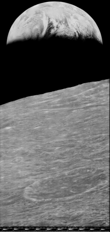 This Lunar Orbiter 1 image of Earth, restored by the Lunar Orbiter Image Recovery Project, was sent by laser communications to the LADEE spacecraft in lunar orbit in Nov. 2013. Image Credit: NASA / LOIRP