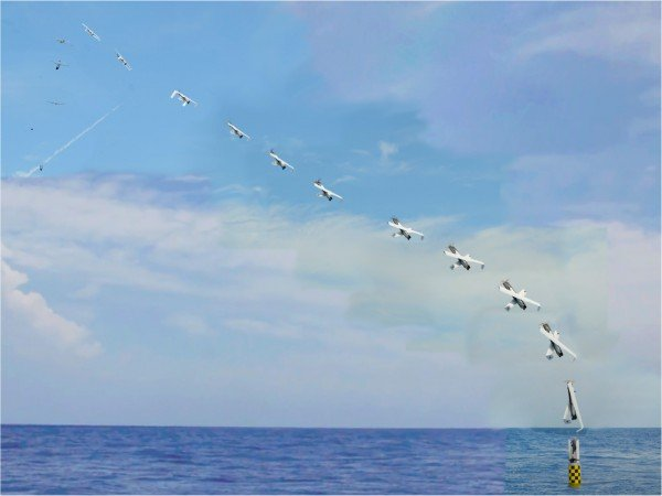 Deployed from the submerged submarine USS Providence, the NRL developed XFC unmanned aircraft is vertically launched from a 'Sea Robin' launch vehicle (bottom right). The folding wing UAS autonomously deploys its X-wing airfoil and after achieving a marginal altitude, assumes horizontal flight configuration. (Photo: NAVSEA-AUTEC).