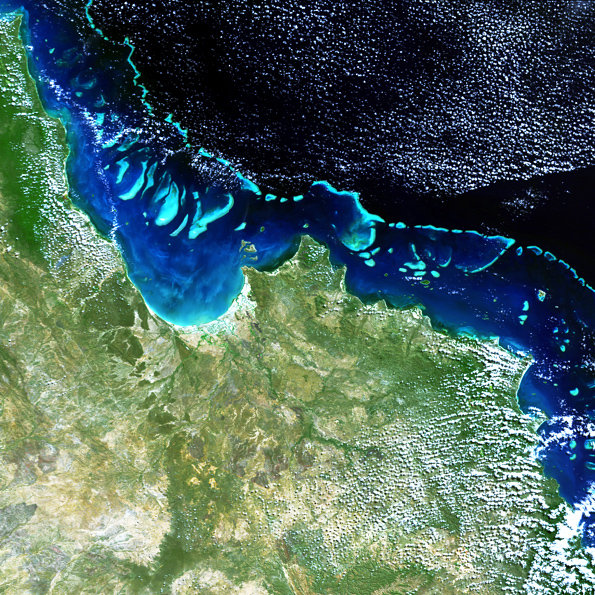 An Envisat MERIS image of the Great Barrier Reef off Australia's Queensland coast, centred on Cape York Peninsula. Taken on 19 August 2004, this MERIS Full Resolution mode images has a spatial resolution of 300 metres. Copyright: ESA