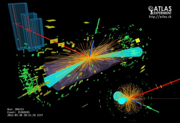 We knew the HIggs boson decayed into bosons; now we've seen it crumble into fermions. Credit: ATLAS