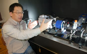 WHOI scientist Houshuo Jiang with the new high-speed, high-resolution video system he developed. Credit: Alison Satake, WHOI