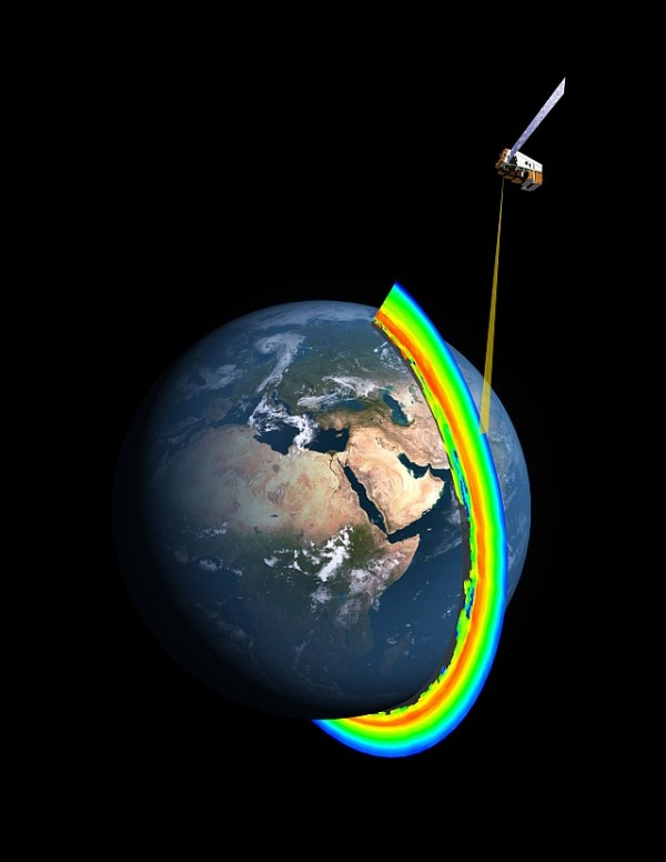 A cross-section of Earth's ozone layer as measured by the limb profiler, part of the Ozone Mapper Profiler Suite that's aboard the Suomi NPP satellite. Image Credit: NASA/NOAA