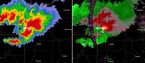 Radar images of the May 22, 2011, tornado that devastated Joplin, Mo. In the right image, colors indicate the intensity of the rain ranging from light (green) to heavy (red and fuchsia). The classic hook pattern of the supercell from which the tornado arose is clearly seen at center. In the left image, inbound winds show up as green and outbound winds as red. The tornado?s wind rotation was estimated at greater than 320 kilometers per hour (200 miles per hour). Credit: NIST