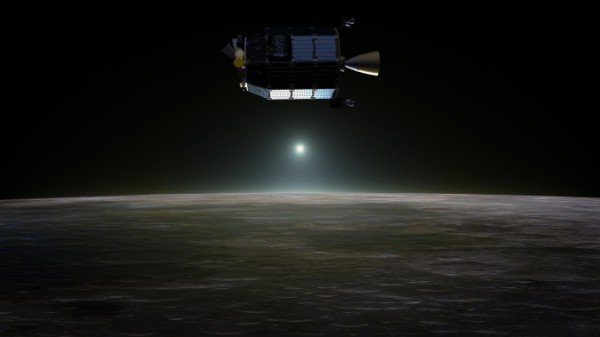 Artist's concept of NASA's Lunar Atmosphere and Dust Environment Explorer in orbit above the moon as dust scatters light during the lunar sunset. Image Credit: NASA