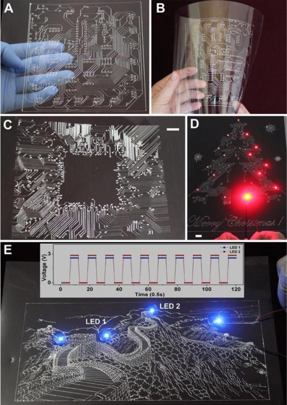 Examples of printed functional patterns of electronic tracks. Image courtesy of the researchers.