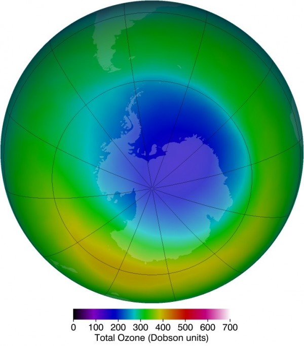 The area of the ozone hole, such as in October 2013 (above), is one way to view the ozone hole from year to year. However, the classic metrics have limitations. Image Credit: NASA/Ozone Hole Watch