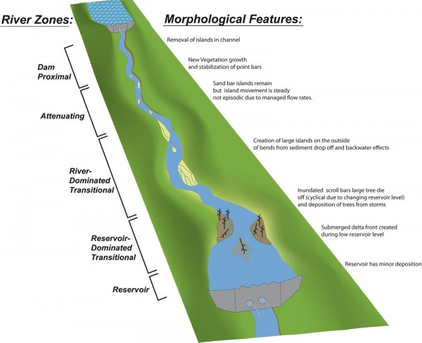 Conceptual model of how two dams in a sequence may interact.  The diagram correlates the river zones created by large dams (shown on left) to the morphological features (described on right) that each zone influences.