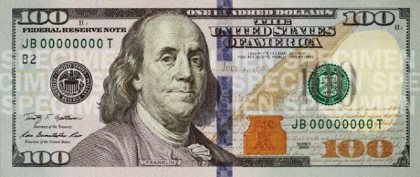 New 100 dollar bill specimen