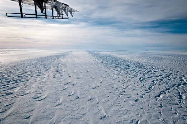 The Pine Island ice shelf in 2009. This photo was taken near the grounding line, where the land-based glacier transitions to a floating ice shelf. Credit: Ian Joughin, UW