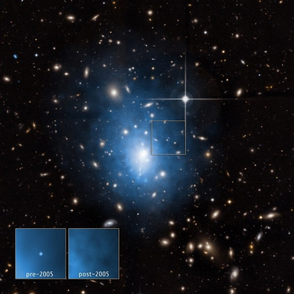 A dwarf galaxy is located in the galaxy cluster Abell 1795. Image Credit: X-ray: NASA/CXC/Univ. of Alabama/W.P.Maksym et al & NASA/CXC