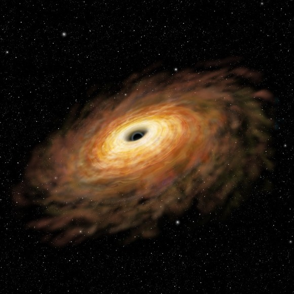 Figure 1: Artist's rendition of an active, mass-accreting black hole in a luminous, gas-rich merging galaxy. (Credit: NAOJ)