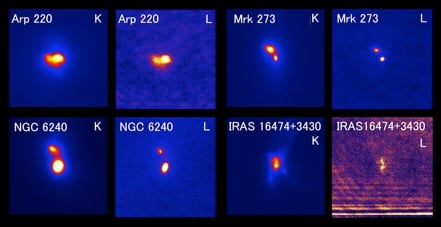 Figure 3: Infrared K-band and L'-band images of four luminous, gas-rich, merging galaxies that display multiple, active SMBHs. The image size is 10 arc seconds. North is up, and east is to the left. They show emission from multiple galaxy nuclei. The infrared K-band to L'-band emission strength ratios characterize emission of AGN-heated hot dust, not a star-formation-related one. (Credit: NAOJ)