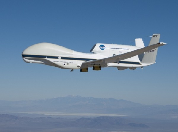 NASA's Global Hawk 872 on a checkout flight from Dryden Flight Research Center, Edwards, Calif., in preparation for the 2014 ATTREX mission over the western Pacific Ocean. Image Credit: NASA/Tom Miller