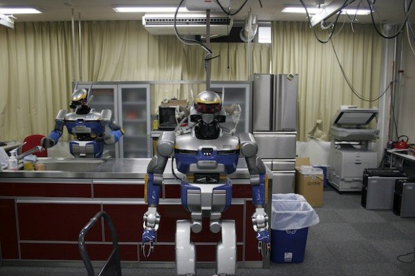 HRP-2 robots learn kitchen chores at the University of Tokyo's JSK Lab. Photo: Erico Guizzo/IEEE Spectrum