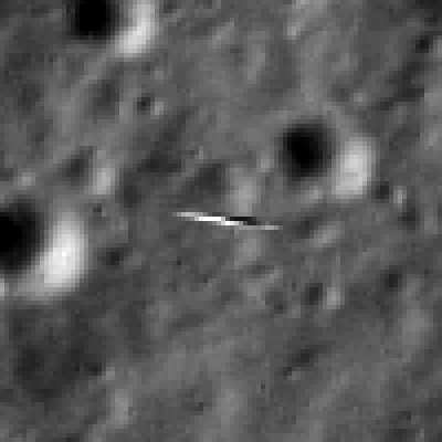This subsection of the LRO image, expanded four times, shows the smeared view of LADEE. Image Credit: NASA/Goddard/Arizona State University