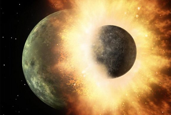 This artist's conception of a planetary smashup whose debris was spotted by NASA's Spitzer Space Telescope in 2009 gives an impression of the carnage that would have been caused when a similar impact created Earth's moon.  Credit: NASA/JPL-Caltech
