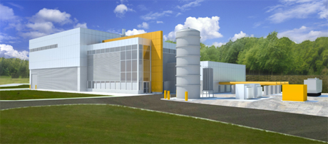 A rendering of the building on the new muon campus, where the Muon g-2 experiment will be housed. Credit: Fermilab Visual Media Service