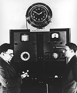 NIST's first atomic beam clock, 1949, was based on an ammonia-regulated quartz crystal oscillator and had a precision of about one part in 20 million. Credit: NIST