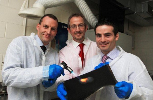The Enbio team wield a blow torch to demonstrate the heat absorption of Solar Black CoBlast-treated titanium foil. A similar coating will form the outermost layer of the protective heatshield for ESA's 2017 Solar Orbiter mission. Pictured at Enbio's manufacturing facility at the NovaUCD centre on the University College Dublin campus are (l-r) Nigel Cobbe, vice-president, business development, Enbio; John O'Donoghue, CEO, Enbio; and Dr James Carton, industrial surfaces programme manager, Enbio. Copyright Enbio/NovaUCD