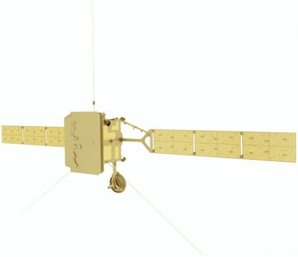 Front view of the Solar Orbiter spacecraft, highlighting its protective heatshield. The shield has feed-throughs with doors for the mission's remote-sensing instruments to observe the Sun. Copyright: ESA