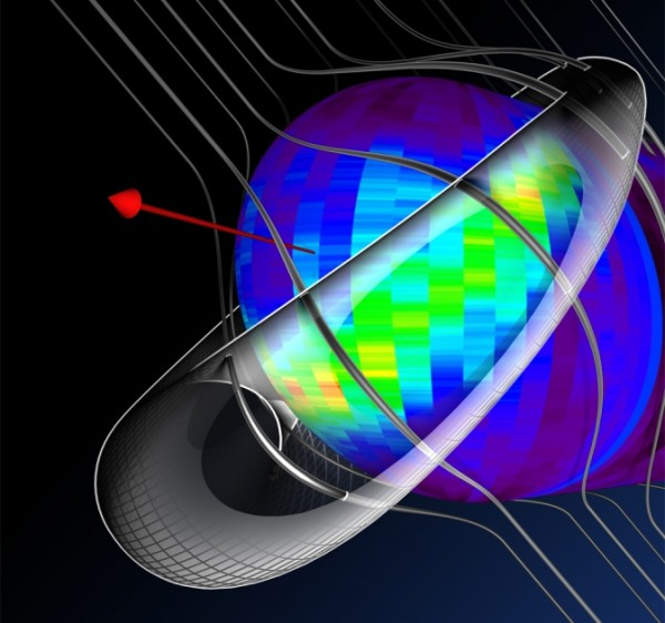 A model of the interstellar magnetic fields – which would otherwise be straight -- warping around the outside of our heliosphere, based on data from NASA's Interstellar Boundary Explorer. The red arrow shows the direction in which the solar system moves through the galaxy. Image Credit: NASA/IBEX/UNH