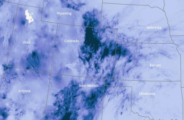 The dark blue areas over Colorado indicate regions that received more than 1,000 percent of their normal rainfall for Sept. 10-16, 2013. Courtesy of the U.S. National Weather Service Advanced Hydrologic Prediction Service.