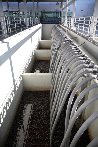 Shown is a microfiltration basin used by Orange County's Groundwater Replenishment System. Microfiltration is the first step in the wastewater purification process. (Photo by Steve Crise, courtesy of American Water Works Association)
