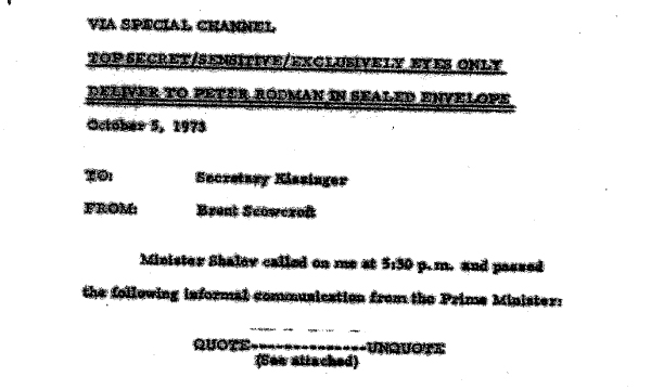 """The declassified """"top secret"""" letter sent by Israeli Prime Minister Golda Meir to U.S. President Richard Nixon (via several intermediaries) in October 1973. Click on the image to see the full document on the National Security Archive website."""