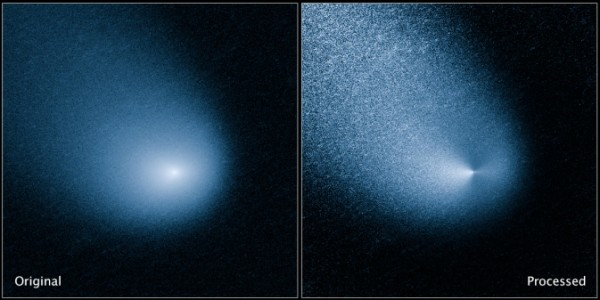 The images above show -- before and after filtering -- comet C/2013 A1, also known as Siding Spring, as captured by Wide Field Camera 3 on NASA's Hubble Space Telescope. Image Credit: NASA, ESA, and J.-Y. Li (Planetary Science Institute)