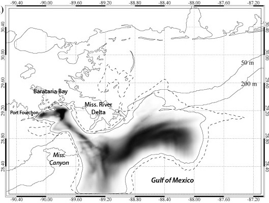 """Dr. Jason Jolliff used surface oil estimates following the Deepwater Horizon blowout to forecast where oil would first hit shorelines 96 hours later, on May 14,2010. """"If you're going to do forecasting,"""" he says, """"you have to get the ocean circulation correct. It's fundamental to all else."""" The protruding Mississippi River Delta mixed offshore oil into coastal currents. The underwater Mississippi Canyon helped funnel oil toward Barataria Bay.  (Image: Jason Joliff; labels superimposed)"""
