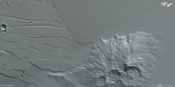 Data from the nadir channel and one stereo channel of the high-resolution stereo camera on ESA's Mars Express have been combined to produce this anaglyph 3D image which can be viewed using stereoscopic glasses with red–green or red–blue filters. This region was imaged on 28 November 2013 (orbit 12 593), with a ground resolution of 14 m per pixel. The image centre is at about 25ºS/249ºE. North is up and east is down. Copyright ESA/DLR/FU Berlin