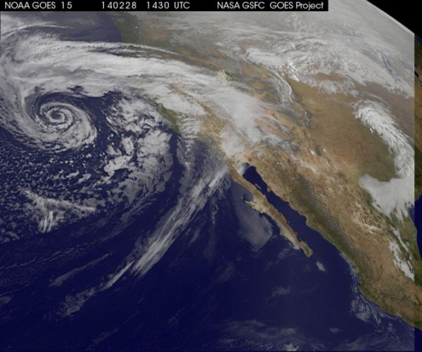 NOAA's GOES-West took this image of a storm off the coast of California. Image Credit: NASA/NOAA