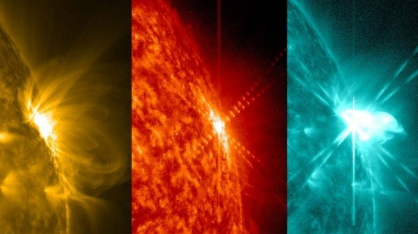NASA's Solar Dynamics Observatory captures images of the sun in many wavelengths of light at the same time, each of which is typically colorized in a different color. Each wavelength shows different aspects of the same event, as seen in these three images of a solar flare on March 12, 2014. Image Credit: NASA/SDO/Goddard Space Flight Center