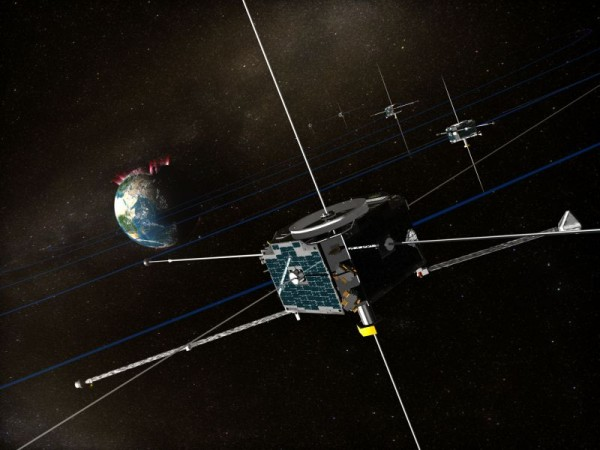 Artist's rendition of the THEMIS spacecraft in orbit in Earth's magnetosphere. Image Credit: NASA